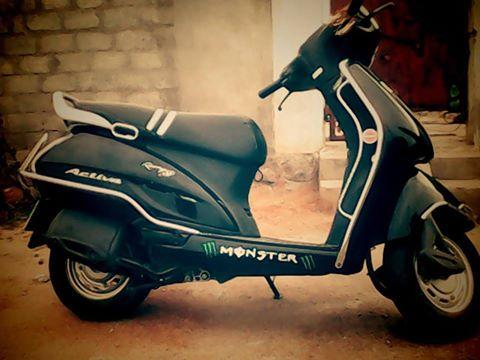 modified activa with seat cover
